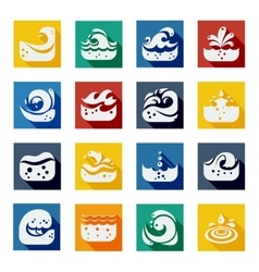 Swirling wave color icons set vector