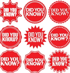Did you know red labelDid you know red sign Did vector image