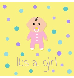 Baby shower card its a girl flat design style vector