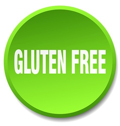 Gluten free green round flat isolated push button vector