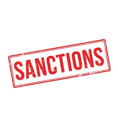 Sanctions red rubber stamp on white vector