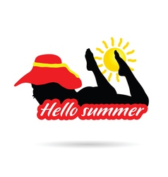Girl with hello summer silhouette vector