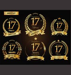 anniversary golden laurel wreath 17 years vector image vector image