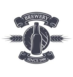 Barrel and bottle beer Brewery emblem vector image vector image