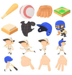 Baseball items icons set cartoon style vector
