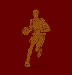Basketball player running front view vector
