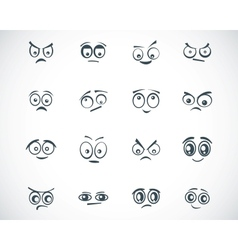 black cartoon eyes set vector image
