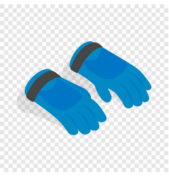Blue winter ski gloves isometric icon vector