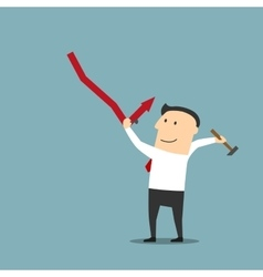 Businessman improving financial graph with hammer vector