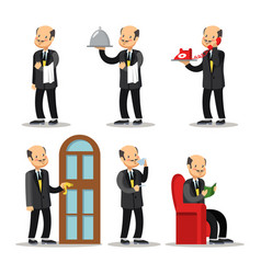 Butler cartoon set man with serving tray vector