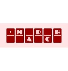 Calendar date - march 1st domino bones style vector