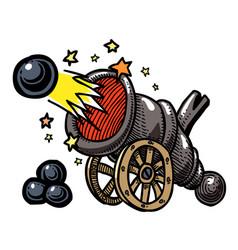 Cartoon image of big cannon firing vector