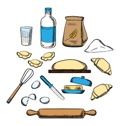 Cooking process of kneading dough vector image