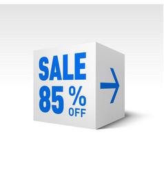 Cube banner template eighty-five percent off vector