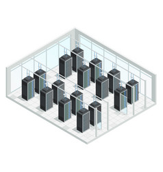 datacenter server room interior vector image vector image