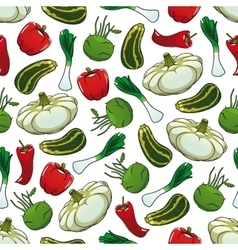 Farm vegetables seamless pattern background vector