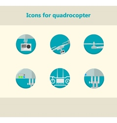 Flat circle icons for monitoring with quadrocopter vector image