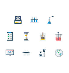 Forensic examination flat color icons set vector