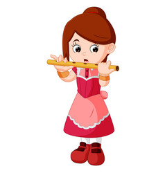girl playing flute vector image vector image