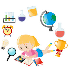 Girl reading book and different object for school vector