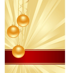 gold background with christmas decorations vector image