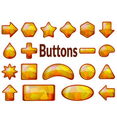 golden glass buttons set vector image