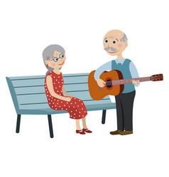 Grandpa playing guitar for grandma vector