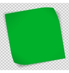 Green paper sticker over transparent background vector image vector image