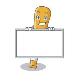 Grinning with board baseball bat character cartoon vector