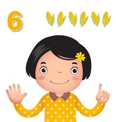 Learn number and counting number six vector image vector image