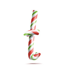 letter t 3d realistic candy cane alphabet vector image vector image