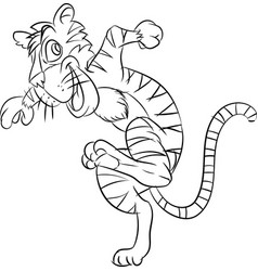 Line drawing tiger be running - vector