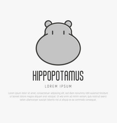 logo with head of hippo in thin line style vector image