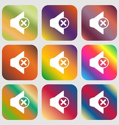 Mute speaker sign icon Sound symbol Nine buttons vector image vector image