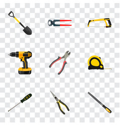 realistic nippers electric screwdriver length vector image
