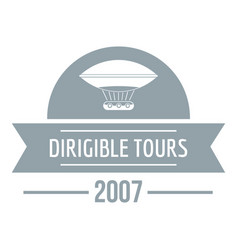 Retro dirigible logo simple gray style vector