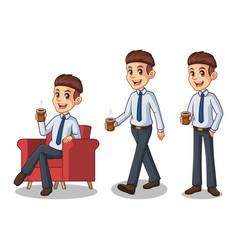 set of businessman in shirt making a break vector image vector image