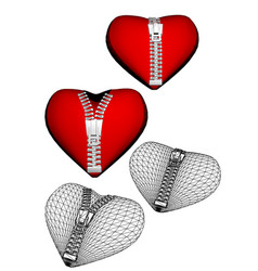 Set of hearts with zipper vector
