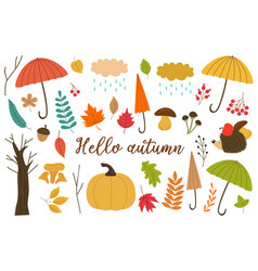 Set of isolated elements of autumn vector