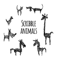 Set of scribble animals vector image