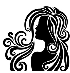 Silhouette of a beautiful young woman vector image