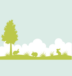 silhouette of bunny on the hill landscape vector image