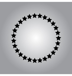 Stars rounded icon in a flat design in black color vector image vector image