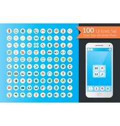 Ui flat icons set with smart phone vector
