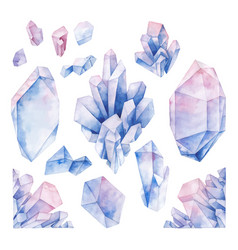 watercolor pastel colored crystals vector image vector image