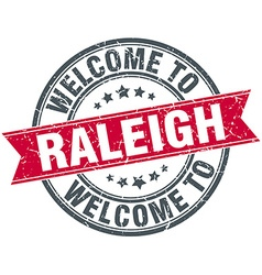 Welcome to raleigh red round vintage stamp vector