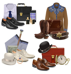 Male fashion accessories set 2 vector
