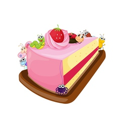 cake and various insects vector image