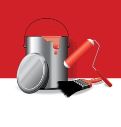 Red paint pot banner vector