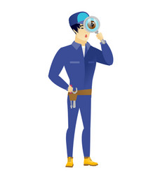 Asian mechanic with magnifying glass vector
